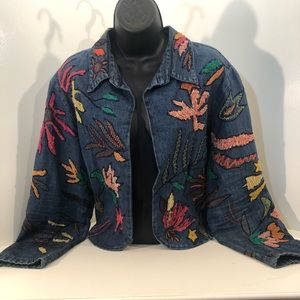 Chicos Multi-color patched Jean Jacket; size 3
